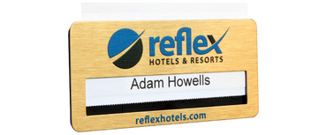 Metal reusable name badges - Brushed gold metal background | www.namebadgesinternational.ie